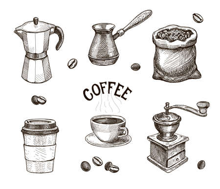 Illustration pour Hand drawn coffee set. Coffee mill, kettle, roasted beans in sack sketch, Cap of espresso or capuchino. Vintage vector collection for coffee shop. - image libre de droit