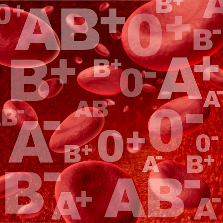 Different blood group and types representing red blood cells flowing through veins and human circulatory system representing donors and recipients of transfusions for emergency surgery in the medical health care system.