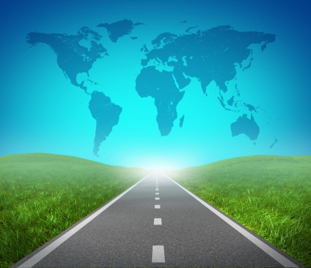 International road highway and global map with green grass and asphalt street representing the concept of journey to a focused international destination resulting in success in trade and political direction.