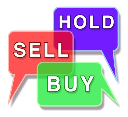 Investing and the stock market symbol represented by three word bubbles with the words hold buy and sell showing the concept of financial trade in the business world of an equities and mutual funds broker.