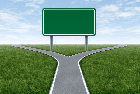 Blank highway and road sign metaphor with fork shaped traffic lanes showing the concept of dilemma and selecting the right option.