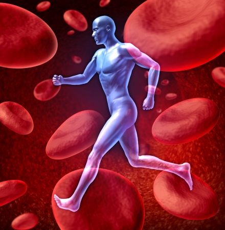 Human cardiovascular blood circulation system represented by a running human with a background of red blood cells flowing through an artery showing the concept of the medical circulatory body that is well oxygenated.