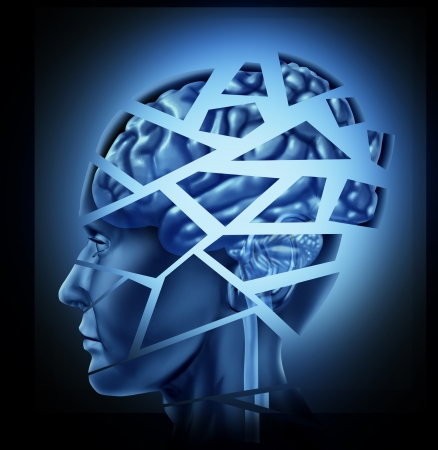 Damaged human brain injury and neurological disorder represented by a man