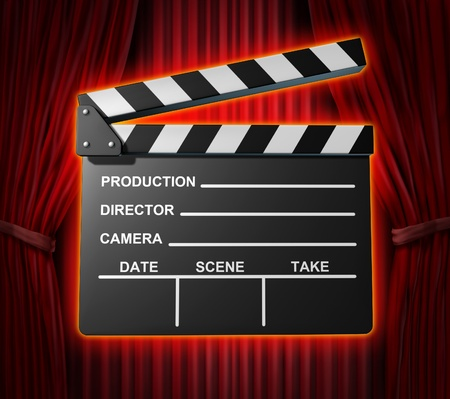 Black clapperboard movies symbol represented by a film slate on red curtain drapes background.