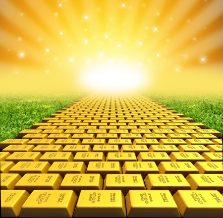 ellow brick road symbol represented by gold bricks with a vanishing perspective.