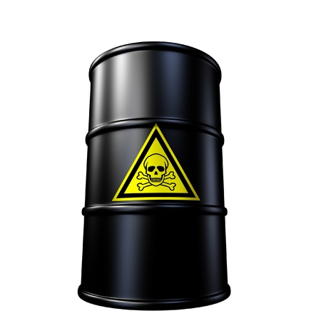 Toxic waste barrel symbol represented by a black metal oil and chemical drum.