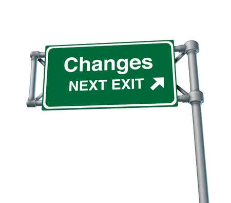 changes Freeway Exit Sign highway street symbol green signage road symbol isolated