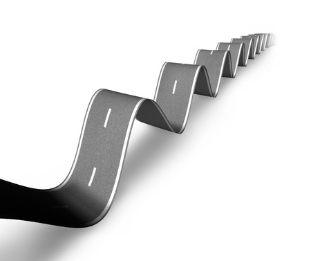Bumpy road and tough times ahead symbol with a wavy hilly road curving up and down showing the concept of market fluctuations and a rough road to economic recovery on a white background and shadow.