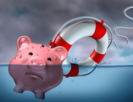 Financial Aid and rescue from debt problems and keeping your investments above water represented by a drowning pink piggy bank sinking in blue water with a life preserver as a symbol of urgent business help and assistance from bankruptcy.
