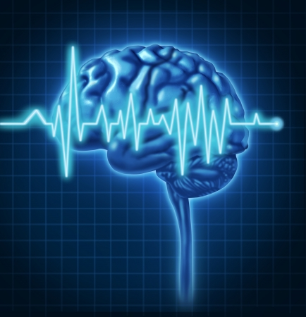 Human Brain ECG Health monitoring of the electrical signals that cause seizures and other problems in the human mind and charting the cognitive mental function of the intelligence of the anatomy of the body.