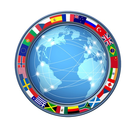 World Internet connections with ring of global flags showing an international communications technology theme representing countries from multiple continents on a white background connected sharing data.