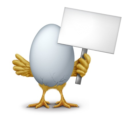 Funny egg holding a blank sign with humorous hatching baby bird chick breaking through the thin shell showing new life as a symbol of early bird and morning announcement.