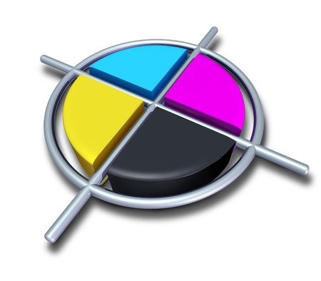 Polygraphic cmyk colors with chrome metalic cross featuring cyan magenta yellow and black symbol of four color printing and designer calibration of saturation and tonality of printed and digitaly broadcasted content.
