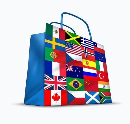 World trade and global commerce as an international symbol of business trading in exports and imports for the entire globe represented by a financial shopping bag with flags from many countries from around the earth.
