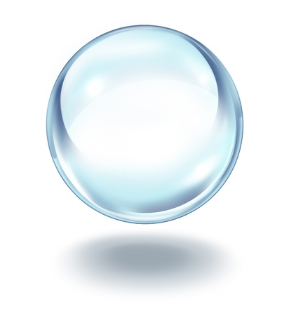 Crystal ball floating in the air as a transparent glass sphere on a white background with a shadow as a symbol of  future visions and paranormal predictions of things to come in finances and personal fortune.