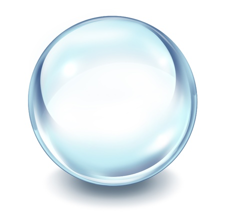 Crystal ball transparent glass sphere on a white background with a shadow as a symbol of the future and paranormal predictions of things to come in finances and personal fortune.