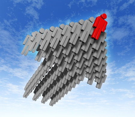 Teamwork success in business with growth strategy as human businessmen icons in grey flying in the sky rising up