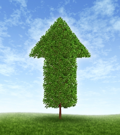 Growth investing and financial business success during economic good times due to compound interest from investments for linear productivity developement with a green tree in the shape of an arrow pointing upwards to the blue sky.