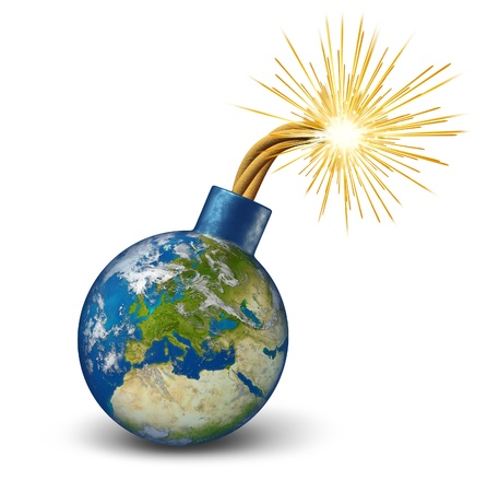 Europe financial bomb as an earth map of European union with lit burning fuse with fire sparks fealing the heat as a dangerous economic  Euro debt warning and urgent banking crisis with countries as France Italy Greece Spain Portugal.
