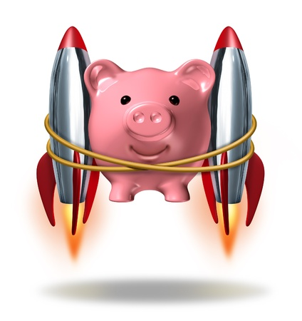 Investing Success and new wealth management solutions to grow your finances fast  as a pink piggy bank with rocket engines strapped on to its sides blasting off  as a successful financial strategy with strong growth potential.