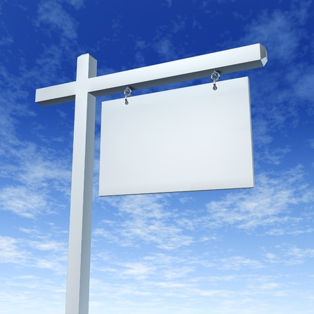 Blank White Real Estate Sign On a Blue Sky as a communicatio billboard marketing the sale of a home or family dream house through advertising with an agent and negotiating a good morrtgage interest rate.