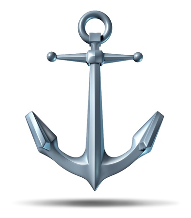 Anchor on a white background with a metal heavy nautical structure as a marine icon representing strength reliability and stability