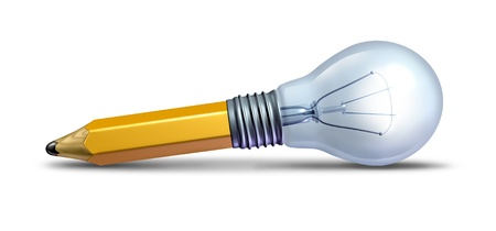 Photo pour Design and innovation as a creative ideas icon with a pencil and a light bulb    - image libre de droit