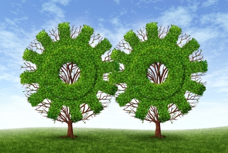 Growing business partnership and strategic alliance and financial teamwork with two trees in the shape of gears and cogs as symbols of strong conservative growth for success and future wealth on a blue sky