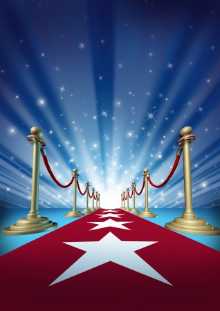 Red carpet to the movie stars with an entertainment theater design background with gold roped barriers and radiating spot lights with shiny sparkles as a symbol of an important event with cinematic and theatrical fun