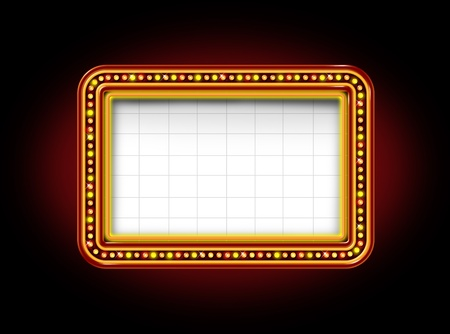 Theater marquee blank neon lights sign with glowing Illuminated announcement billboard to promote and communicate an important message to the public on a black night background