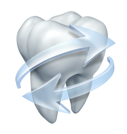 Cleaning teeth dentist and tooth hygiene symbol with a single molar and transparent water icon arrows clensing and rinsing the white surface to prevent cavities and gum disease on a white background