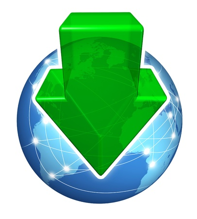 Global digital downloads with a green arrow pointing down and a planet with international connections on a white background as an internet business icon s