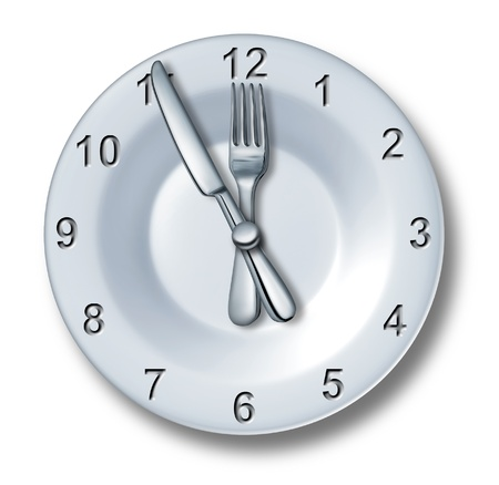 Lunch time dining concept with a fork and knife on a plate