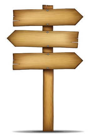 Wooden direction arrow sign with pole as an old western theme wood and weathered woodgrain design element of communication as an element of choice and solutions with a blank area for text on a white background
