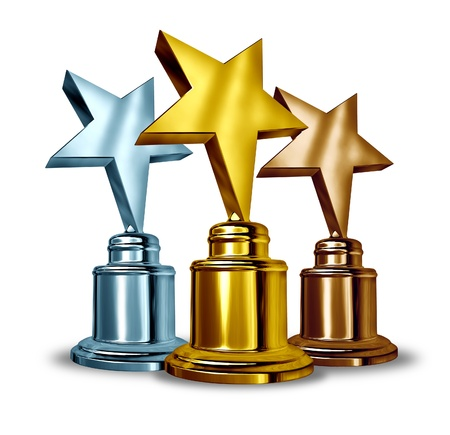 Gold silver and bronze star trophies and trophy award as the best three winners in a competition as a symbol of achievment and entertainment recognition from your peers and success on white