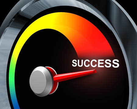 Success speedometer business concept of fast powerful achievement as a result of careful planning of a financial strategy represented by a speed gauge measuring the improvement your goals and aspirations