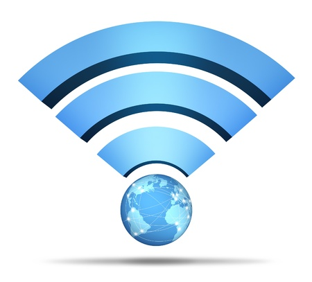 Wireless Network Symbol and global communication mobile technology with a three dimensional blue icon of international broadcasting and streaming networking data from cloud computing or dedicated server system on a white background