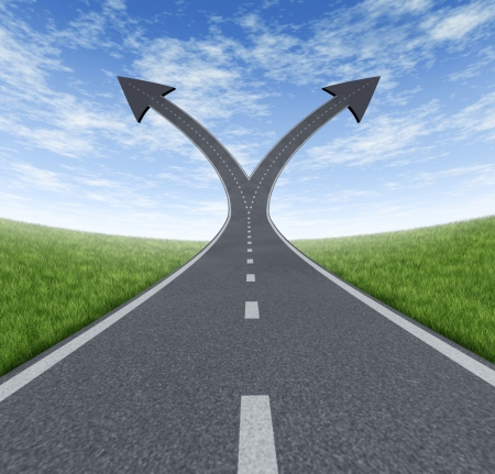 Success decision as a cross roads and upward growth streets in the shape of arrows showing a fork in the path representing the concept of direction when facing two equal or similar options