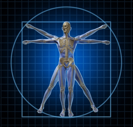 Vitruvian human skeleton man and body with as a frontal Leonardo Da Vinci like anatomy pose for health care and medicine icon on a black background