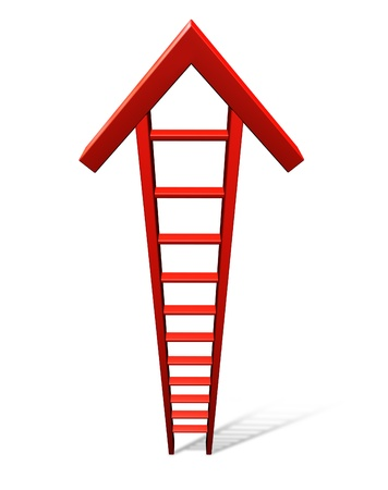 Climb to success with a single red ladder in the shape of an arrow rising to the top as a business concept symbol of financial profit and wise investing advice on a white background