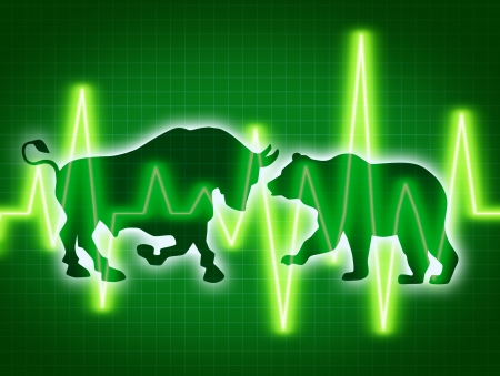 Stock market concept of the animal symbols for buy and sell as a bull and bear for bullish and bearish business and financial trading of investments in corporations with a dark green background