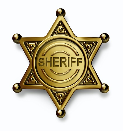 Police badge with the word sheriff embossed in the brass or gold metal emblem with as a symbol of security and law enforcement protection on a white background