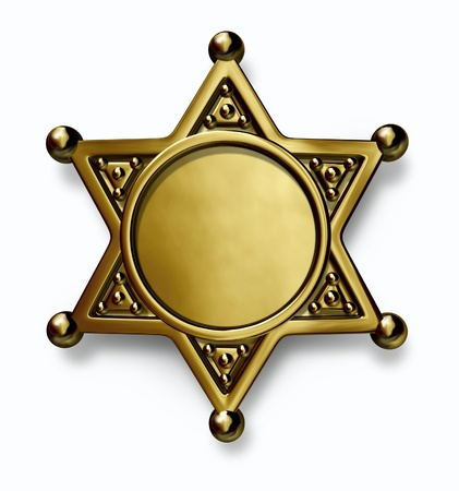 Sheriff and police brass or gold metal badge with blank center as a symbol of security and law enforcement on a white background