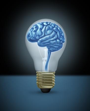 Idea with a human brain as a light bulb of  innovation as a  brilliant bright light