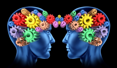 Brain head communications as a networking team work and thinking minds working together with the symbols of gears and cogs connected