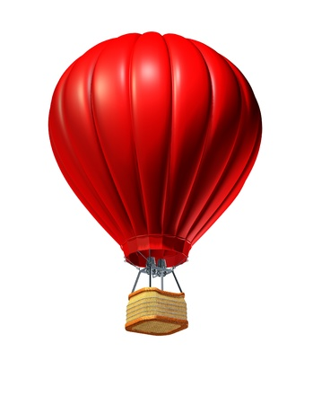 Hot air balloon rising up as a symbol of adventure and freedom on an isolated white background with a red air vehicle to promote tourism and travel