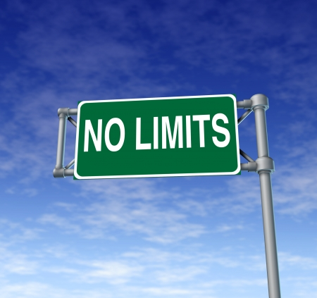 Positive attitude represented by a green outdoor no limits highway sign as a symbol of determination in business success and a concept for setting goals for financial opportunity on a clear blue sky