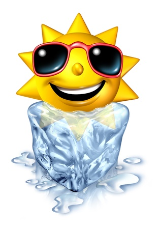 Cool down refreshment relief concept with a hot vacation summer sun character in a frozen cold block of ice melting as a chilled conforting relaxation from the blistering heat on white