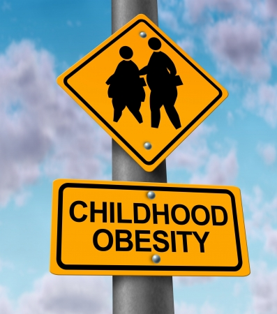 Childhood obesity concept with a traffic road sign showing an icon of overweight kids and young students as a warning to the hazards of eating junk food and fatty fast food