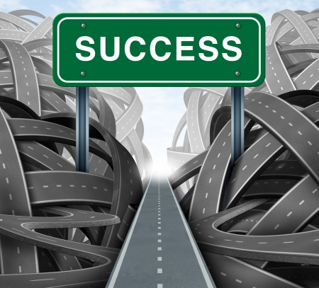Clear strategy and financial planning road with a green highway sign and the word success as a business concept of winning solutions cutting through adversity through determination as tangled paths of confusion and chaos